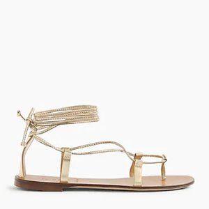 NIB J.Crew Metallic Gold Lace-up Flat Sandals